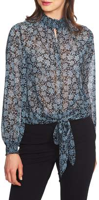 1 STATE 1.STATE Wild Blooms Smocked Neck Blouse