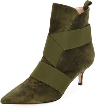 Gianvito Rossi Suede Booties with Stretch Straps
