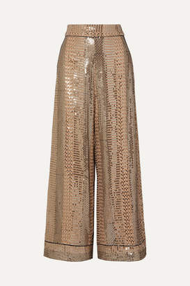 Temperley London Platinum Silk Satin-trimmed Sequin-embellished Chiffon Wide-leg Pants - Gold