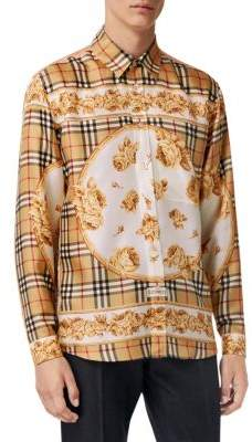 Burberry Woven Check Floral Shirt
