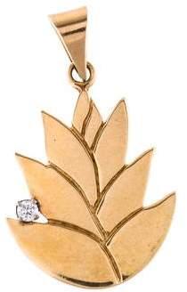14K Diamond Lotus Pendant
