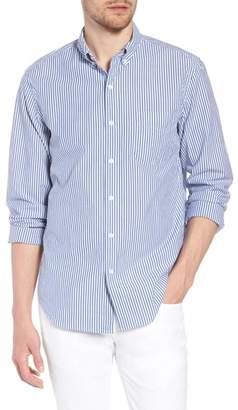 J.Crew J. CREW Slim Fit Stretch Secret Wash Stripe Poplin Sport Shirt
