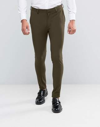 Asos Super Skinny Suit Pants In Khaki