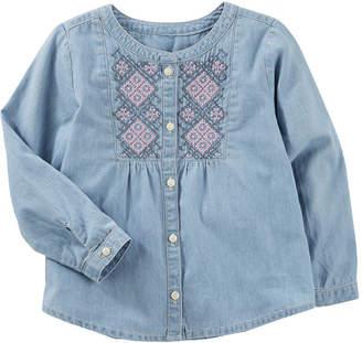 Osh Kosh Oshkosh Long Sleeve Embroidered Chambray Top - Preschool Girls
