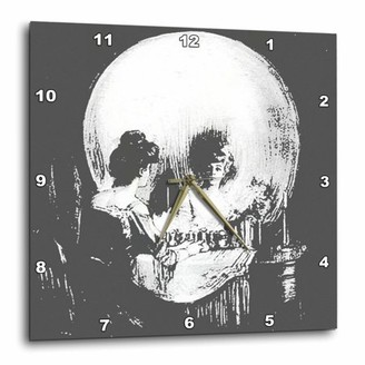 3dRose All Is Vanity - ghost, halloween, optical illusion, paranormal, seasonal, silhouette, skeleton, Wall Clock, 10 by 10-inch