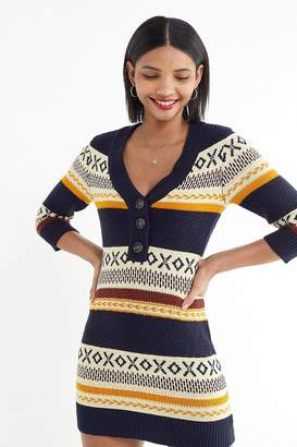 Urban Outfitters Isla Fair Isle Button-Front Sweater Dress
