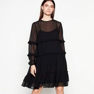 at Debenhams Preen Studio by Black Frill Chiffon Long Sleeves Mini Dress