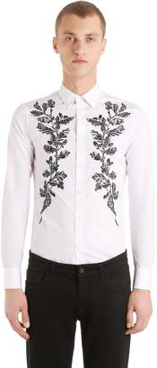 Alexander McQueen Acorn Embroidered Cotton Poplin Shirt