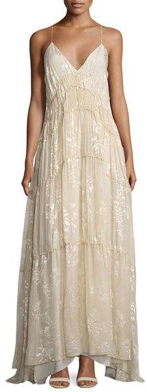Haute HippieHaute Hippie Tunnels of Love Flocked Floral Gown, Antique White
