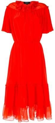 Rochas chiffon-panelled crepe dress