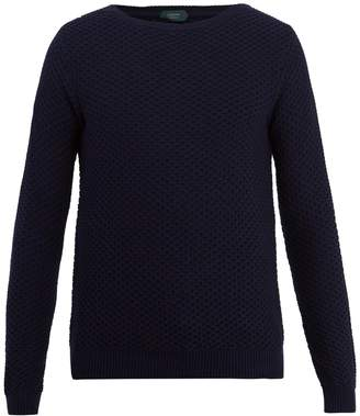 Zanone Crew-neck honeycomb-knit cotton sweater