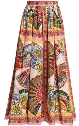 Dolce & Gabbana Pleated Printed Cotton-Poplin Midi Skirt