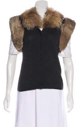 Diane von Furstenberg Fur Trimmed Wool Lightweight Knit Vest