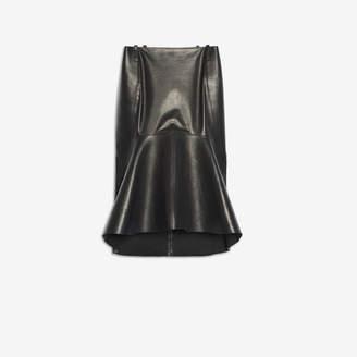 Balenciaga Godet Skirt in black glossy leather