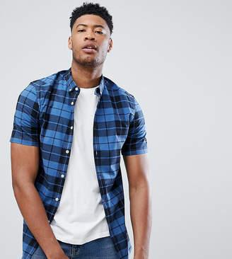 Asos Design DESIGN Tall skinny check shirt in blue