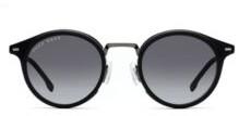 Black-frame sunglasses with shaded lenses