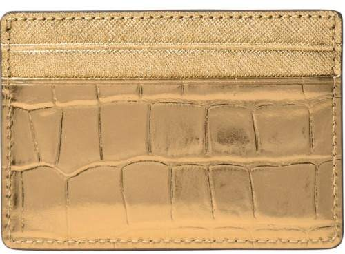 Michael Kors Jet Set Travel Metallic Embossed-Leather Card Case - GOLD - STYLE