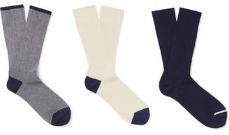 Anonymous Ism Three-Pack Ribbed Cotton Socks