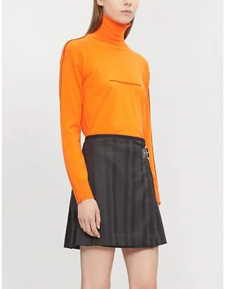McQ Fringe-trimmed wool wrap-over skirt