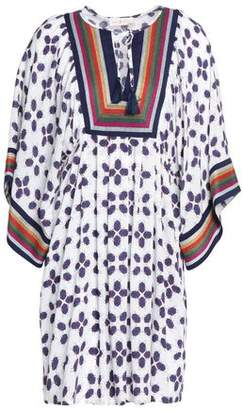 Tory Burch Tasseled Embroidered Printed Gauze Coverup