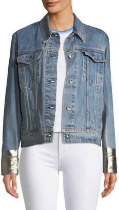 Rag & Bone Oversized Denim Jacket w/ Metallic Cuffs