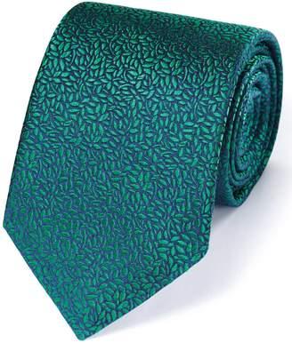 Charles Tyrwhitt Green Silk English Luxury Floral Leaf Tie