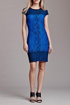 Julia Jordan Short-Sleeve Snakeskin Dress $226 thestylecure.com