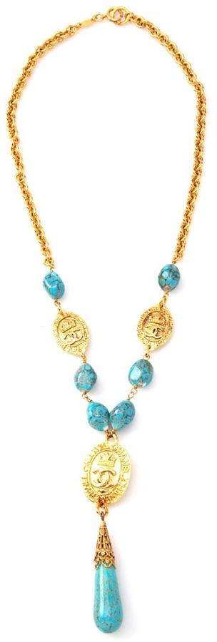 Chanel turquoise and coin necklace
