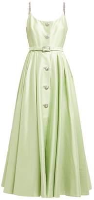 Alessandra Rich - Crystal Embellished Cotton Blend Midi Dress - Womens - Light Green