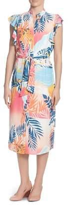 Catherine Malandrino Fredda Palm-Print Shirt Dress