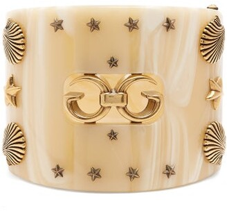 Gucci Gg Star And Shell Embellished Cuff - Womens - Ivory