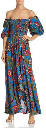 Band of Gypsies Heirloom Blossom Off-the-Shoulder Printed Maxi Dress
