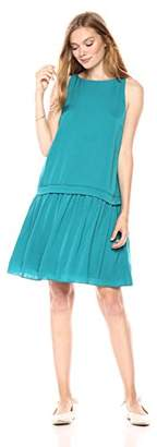 Paris Sunday Women's Sleeveless Drop Waist A-Line Short Dress with Banded Detail