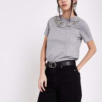River Island Womens Grey pearl embellished T-shirt