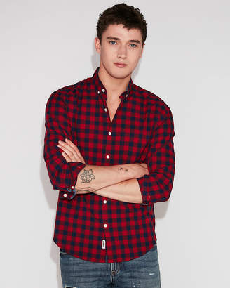 Express Slim Plaid Soft Wash Button Collar Shirt