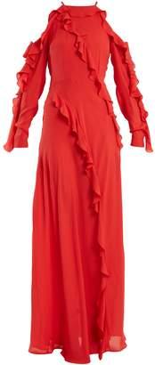 Elie Saab Ruffle-trimmed silk-crepe gown