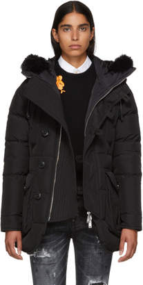 DSQUARED2 Black Hooded Fur Parka