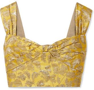 Prada Cropped Metallic Brocade Top - Yellow