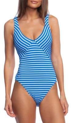 Polo Ralph Lauren Pique Stripe Lace-Back One-Piece Swimsuit