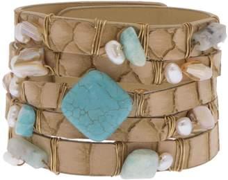 Saachi La Brea Faux Leather Turquoise Stone Multi-Row Wrap Bracelet