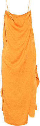 IRO - Altara Asymmetric Draped Crepe De Chine Midi Dress - Orange $460 thestylecure.com