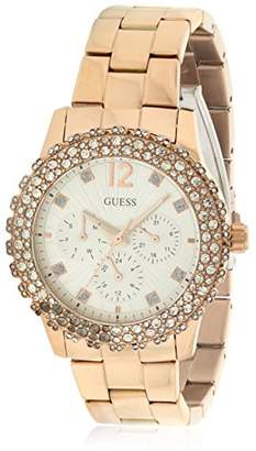 GUESS Women's U0335L3 -Tone Multi-Function Watch with Genuine Crystal Accented Case