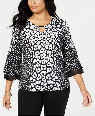 JM Collection Plus Size Animal-Print Bell-Sleeve Top, Created for Macy's