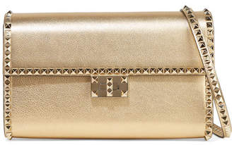 Valentino Garavani The Rockstud No Limit Metallic Textured-leather Shoulder Bag - Gold