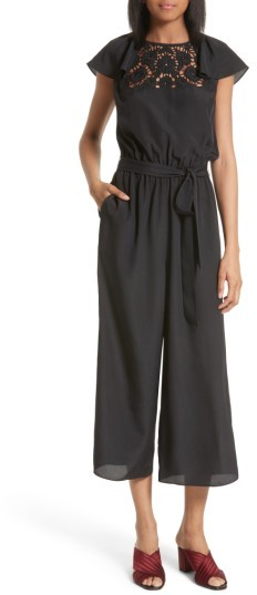 Women's Kate Spade Embroidered Lace Yoke Jumpsuit