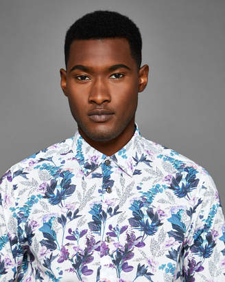 FINTO Fashion fit floral print cotton shirt