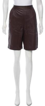 The Row Leather High-Rise Shorts