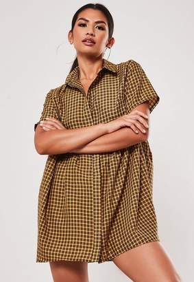 Missguided Yellow Plaid Shirt Smock Dress