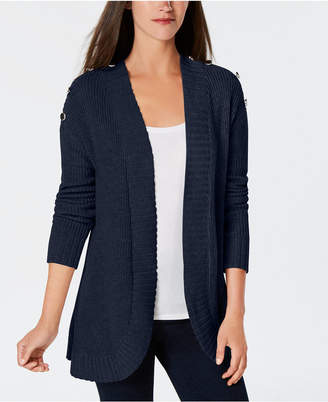 Charter Club Button-Detail Curved-Hem Cardigan