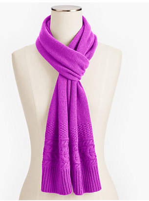 Talbots Cashmere Cable Border Scarf